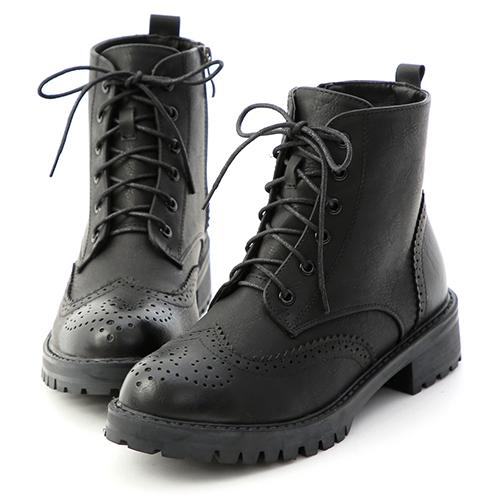 D+AF 懷舊英倫.漸層刷色雕花綁帶短靴