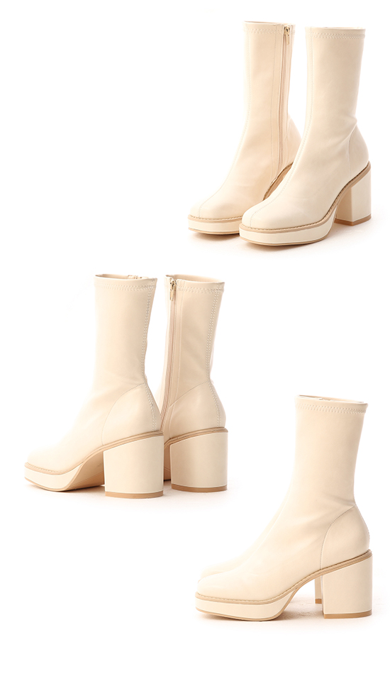 Platform Square Toe Boots French Vanilla White