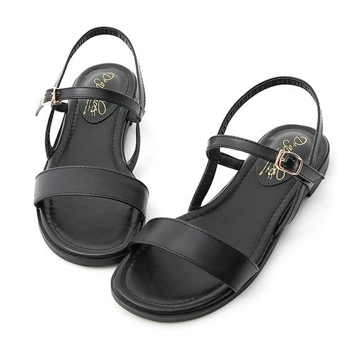 D+AF 自信漫步.一字寬版繫帶平底涼鞋