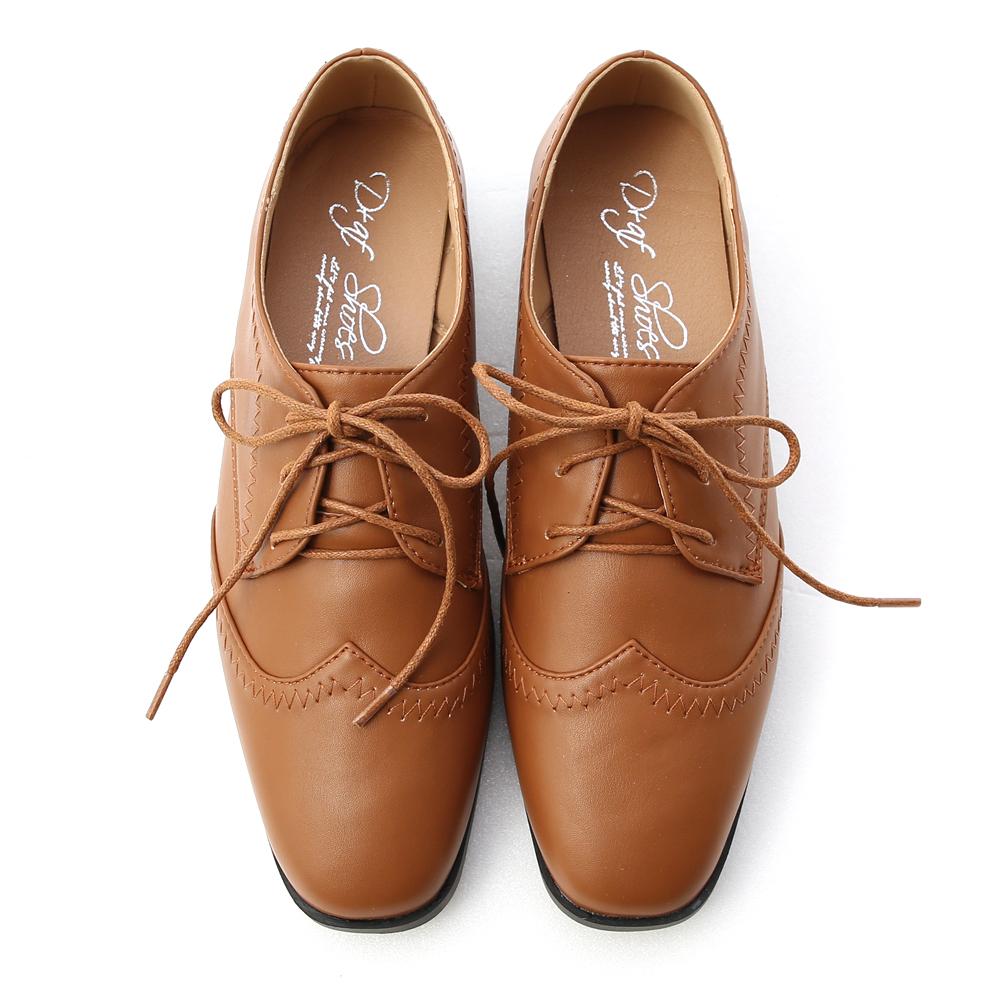 紳士主張.拷克車線綁帶牛津鞋 焦糖棕