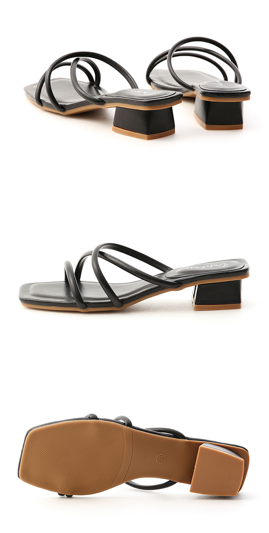 清新柔和.立體細帶低跟涼鞋 時尚黑