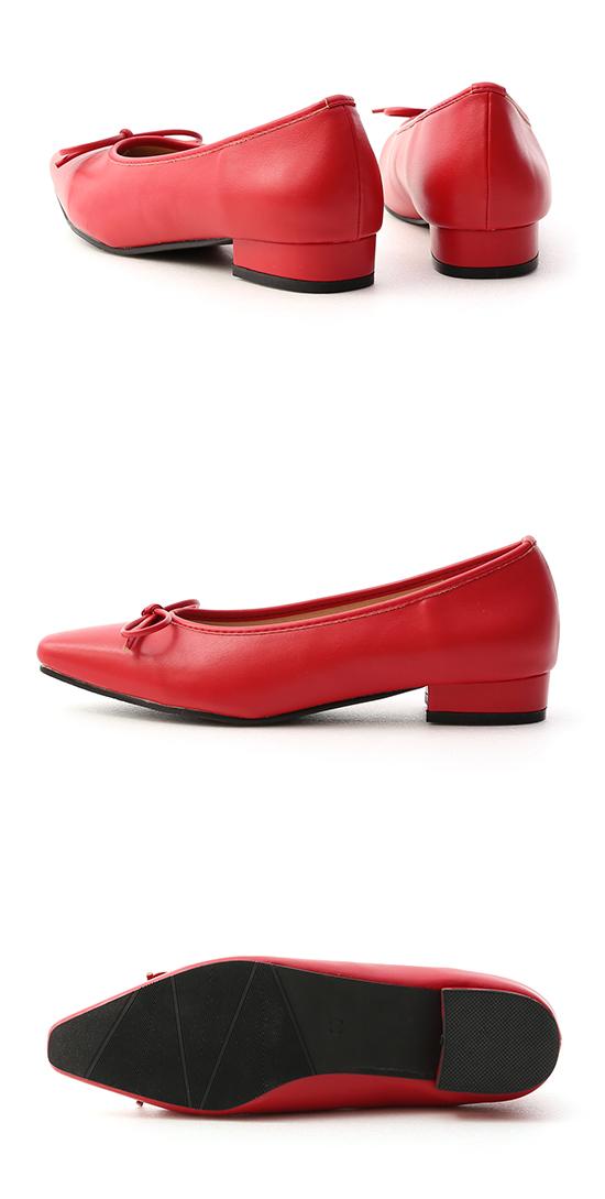 漫步女孩.尖頭低跟芭蕾娃娃鞋 魅力紅