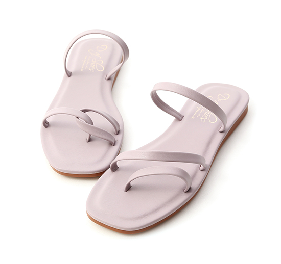 Mismatched Strappy Sandals Lavender