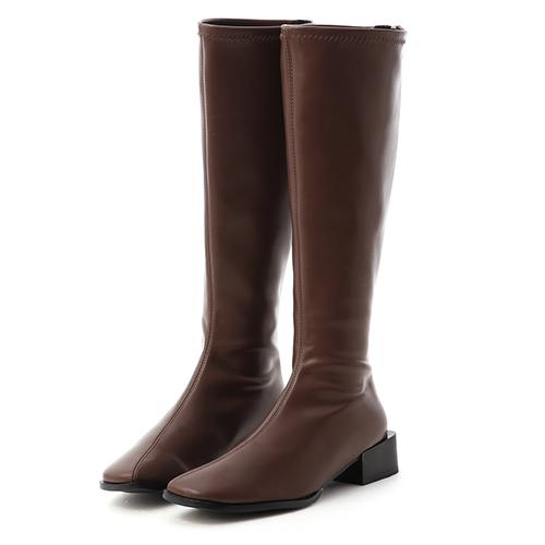 冬氛宣言.斜方頭積木跟膝下長靴