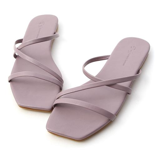 粉彩涼夏.三條細帶平底涼拖鞋