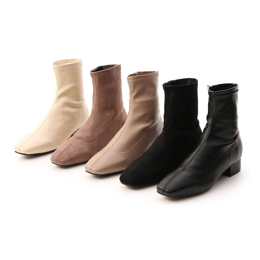 人氣指標.素面車線方頭低跟襪靴 質感黑絨