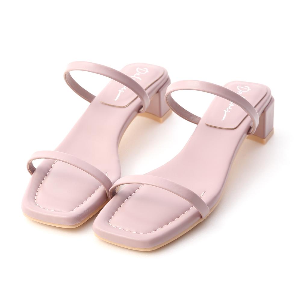 夏日冰沙.一字雙帶方頭中跟涼鞋 薰衣紫