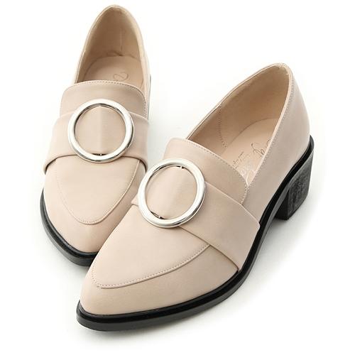 時髦品味.大圓環尖頭低跟紳士鞋