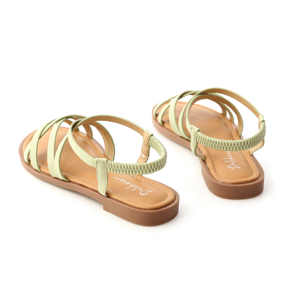 Soft Faux Leather Cross Straps Sandals Avocado Green