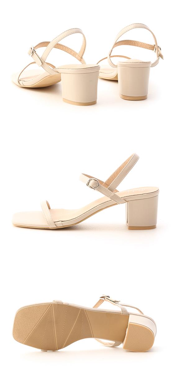 Square Toe Strappy Mid Heel Sandals Vanilla