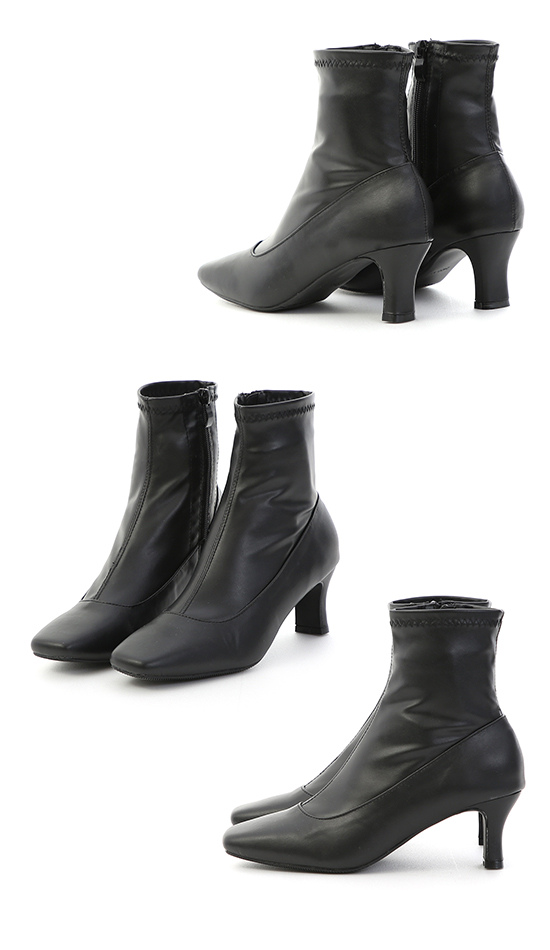 時尚話題.素面絨料合腿高跟襪靴 時尚黑
