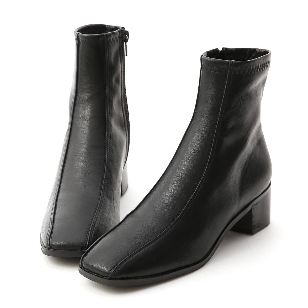 獨特宣言.雙摺線設計低跟襪靴 時尚黑