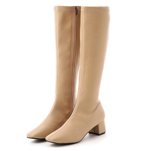 冬日女神.素面中車線合腿長靴