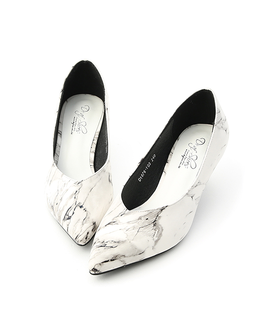 Marble Print Point Toe Kitten Heel Pumps Marble print