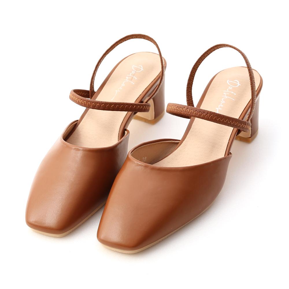 仙女日常.方頭細帶二穿後空跟鞋 焦糖棕