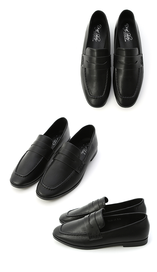 Classic Square Toe Loafers Black