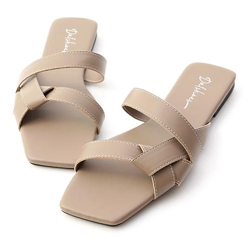歐美指標.扭結設計方頭平底拖鞋