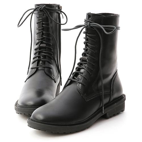 D+AF 帥氣作風.圓頭綁帶中筒馬汀靴