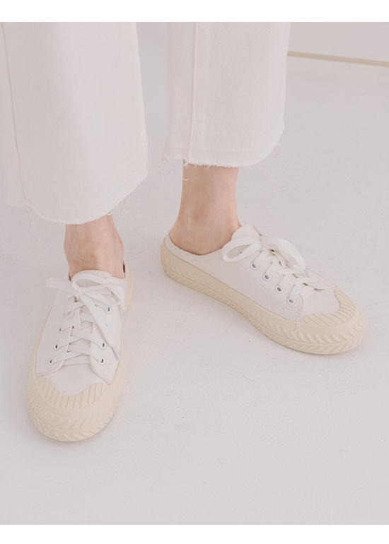 Canvas Mules Sneakers White