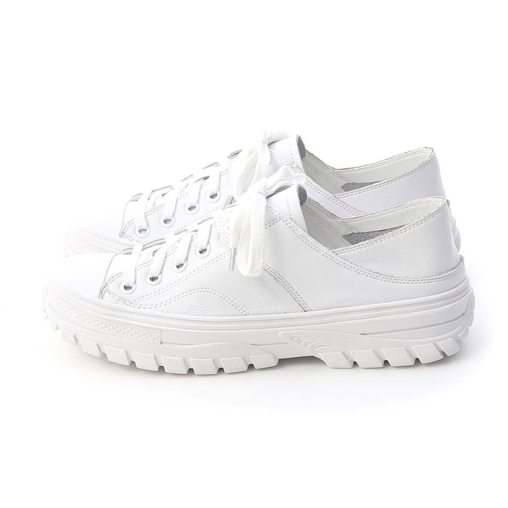Leather Lace-Up Fold Back Sneakers White