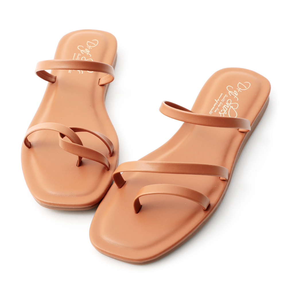 Mismatched Strappy Sandals Brown