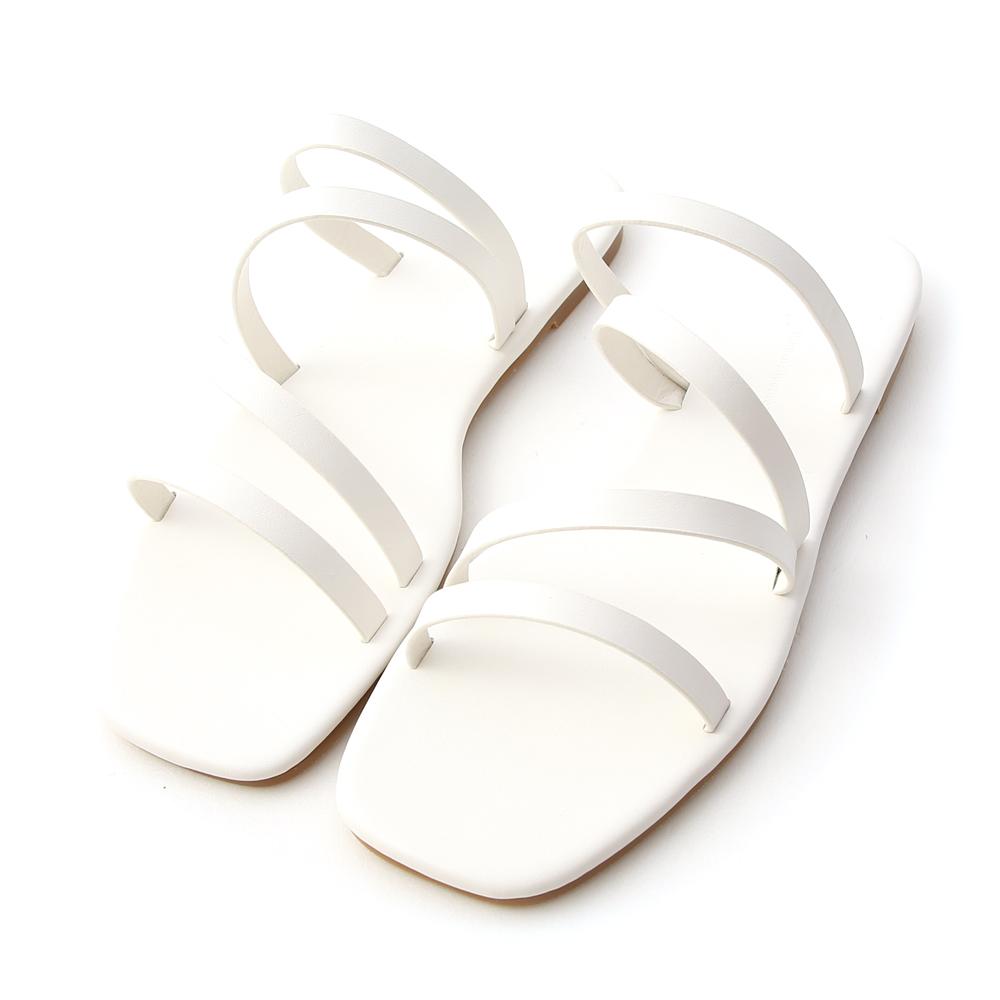 夏日步調.四條細帶方頭平底拖鞋 人氣白