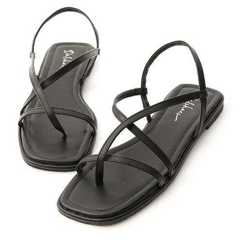 涼涼夏天.一字方頭平底夾腳涼鞋