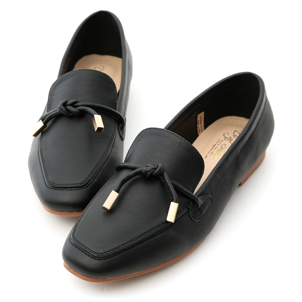 Tie Detail Soft Faux Leather Loafers Black