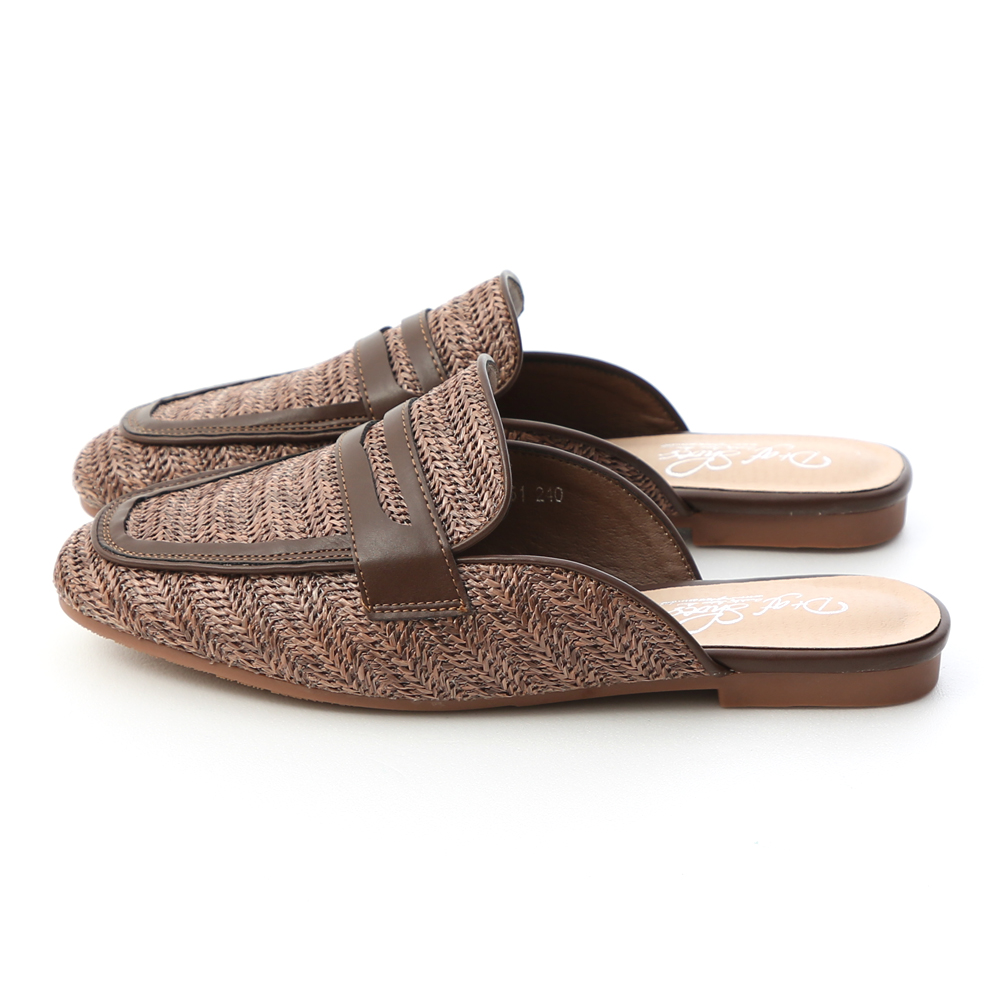 Woven Flat Mules Brown