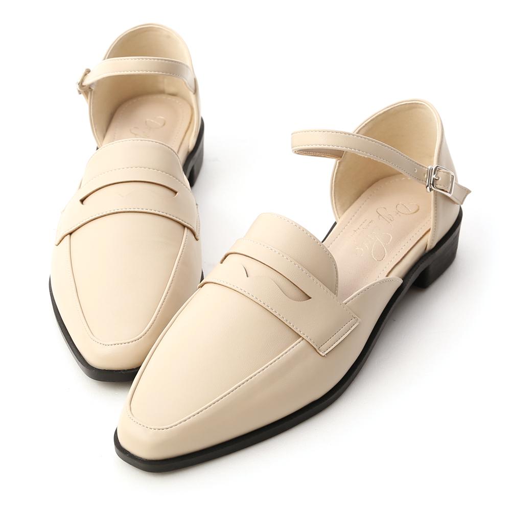 學院時光.微尖頭踝繫帶樂福鞋 香草米