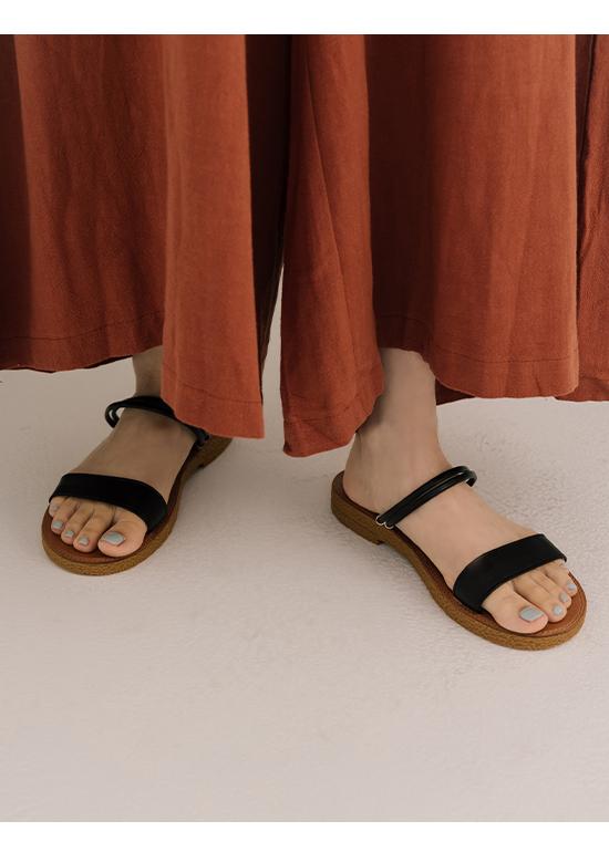 柔軟體驗.二穿法一字超軟底涼鞋 時尚黑