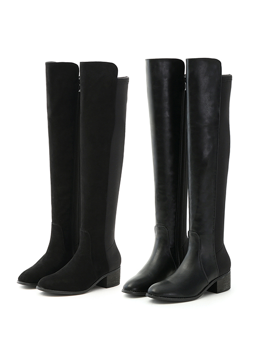 黃金比例.彈力布拼接低跟膝上長靴 時尚黑
