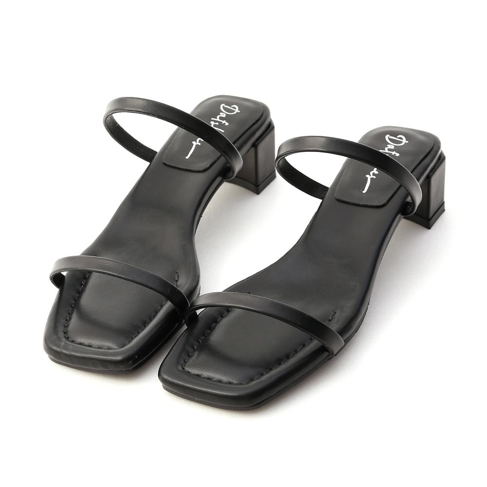 夏日冰沙.一字雙帶方頭中跟涼鞋 時尚黑