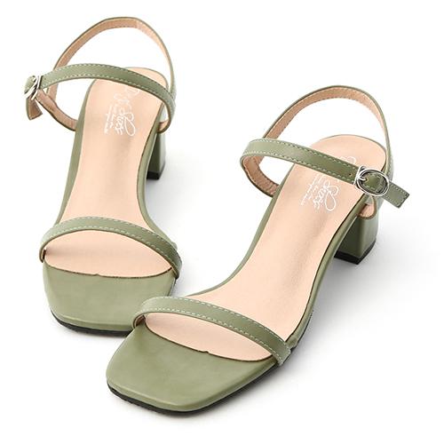 D+AF 夏日美型.一字細帶方頭中跟涼鞋