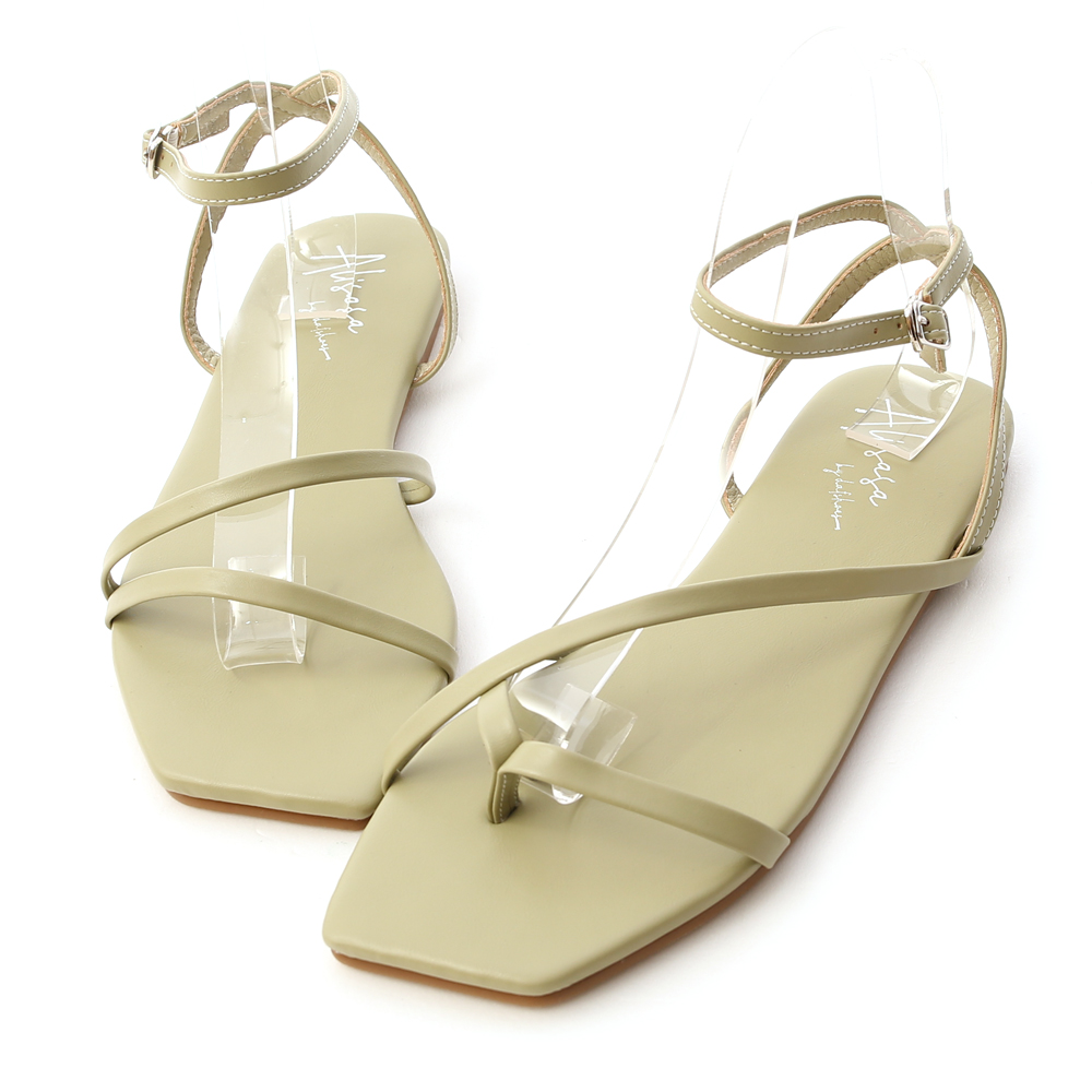 Mismatched Square Toe Strappy Sandals Avocado Green