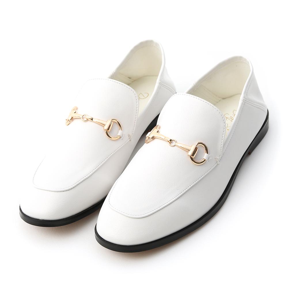 上質品味.馬銜釦後踩式二穿紳士便鞋 人氣白