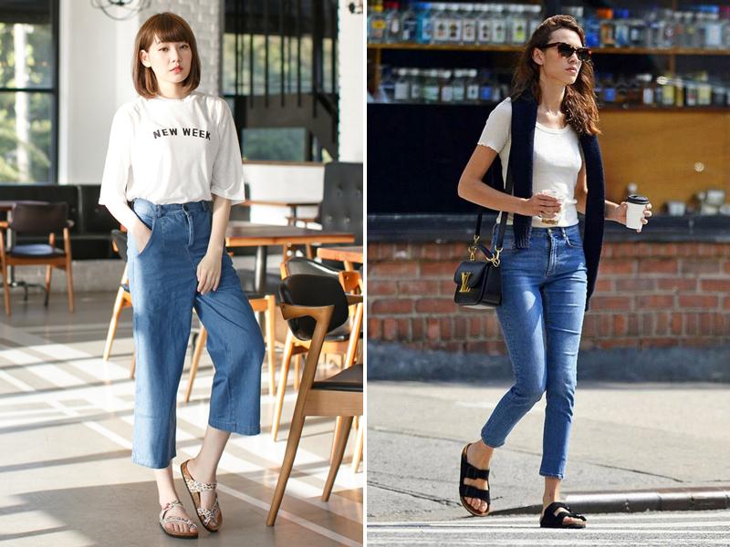 百搭款白T、牛仔褲,簡約 vs. 層次感的穿搭比較圖