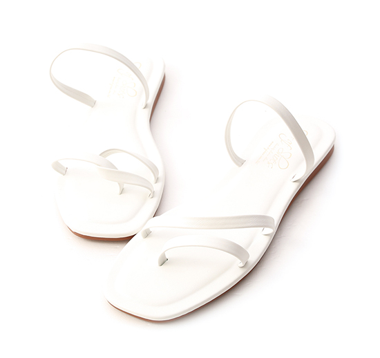 Mismatched Strappy Sandals White