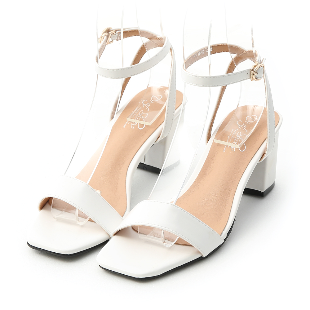 夏日魅力.一字繫踝方頭高跟涼鞋 人氣白