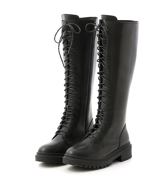 酷派指標.厚底綁帶馬汀長靴 時尚黑