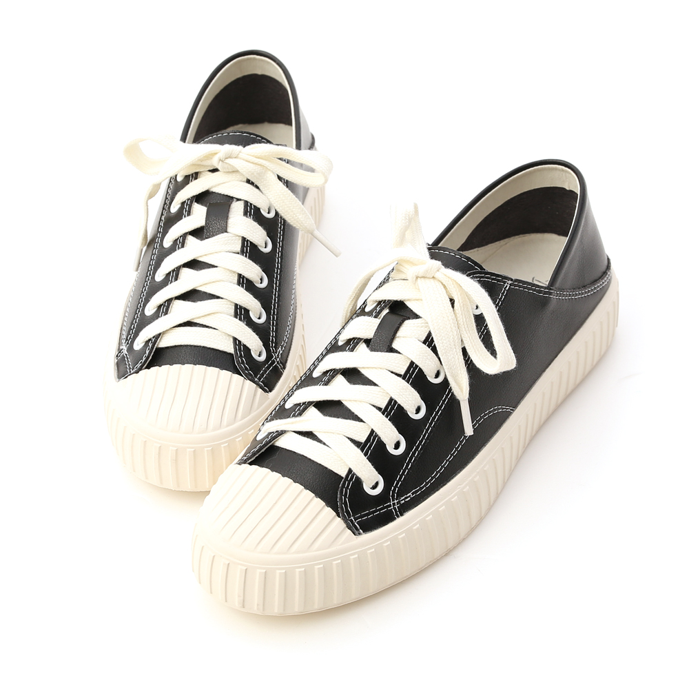 Two-way Faux Leather Fold Back Sneakers Black