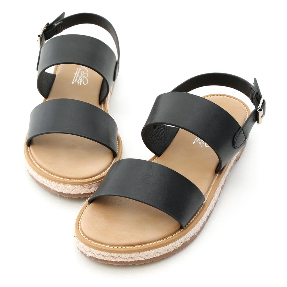 舒適涼感.一字造型平底草編涼鞋 時尚黑