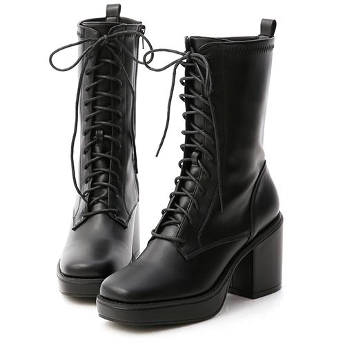 微辣個性.加厚水台方頭綁帶短靴