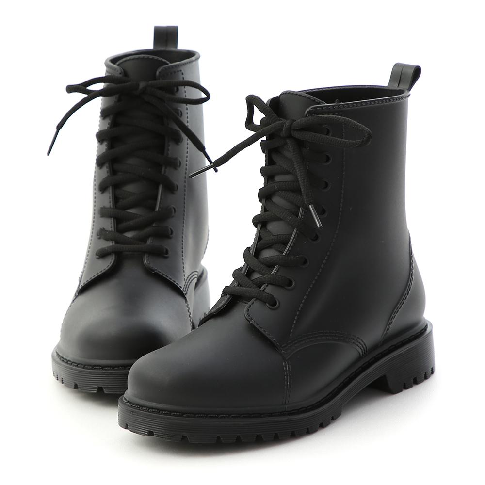 D+AF 率性日常.綁帶造型馬汀雨靴