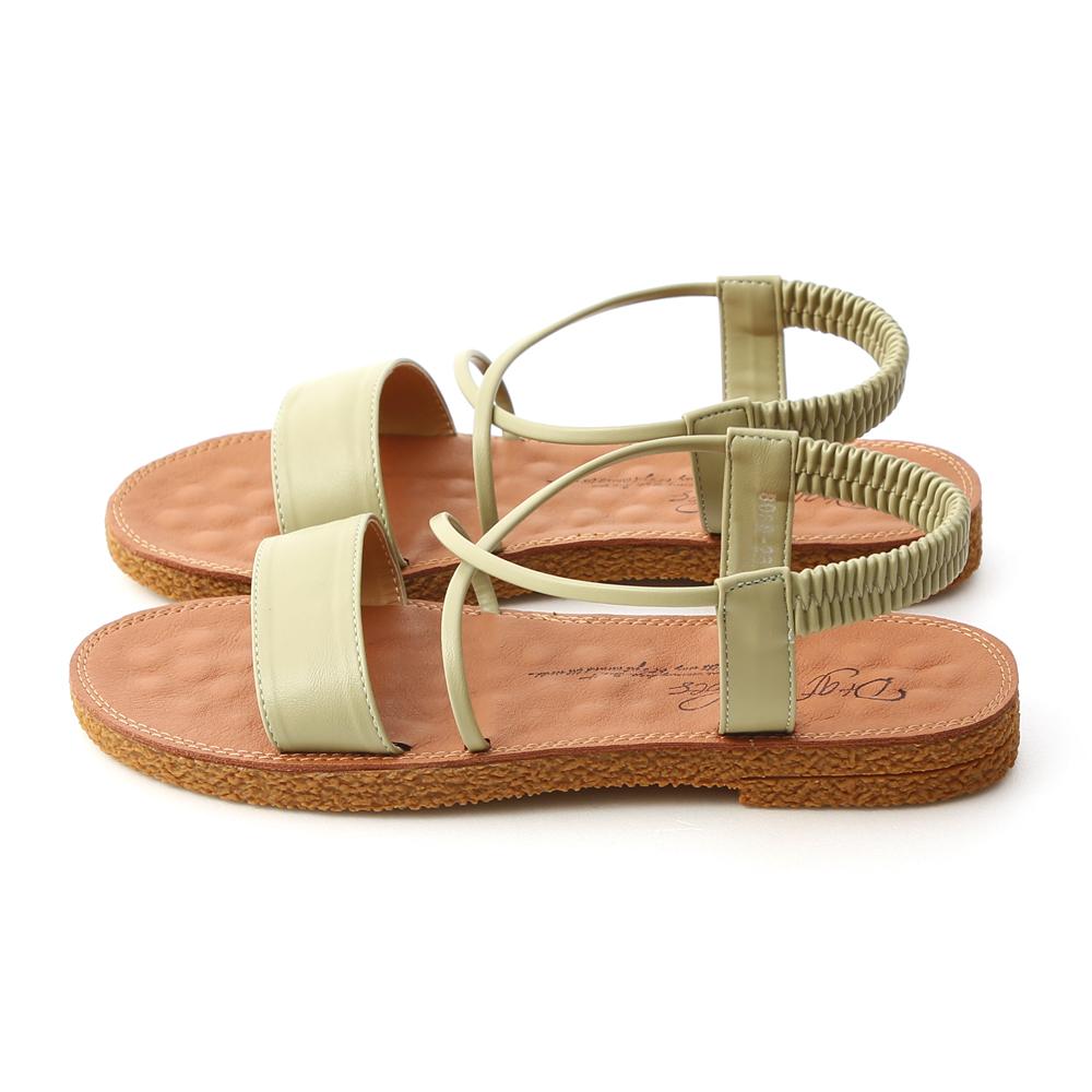 Cross Strap Flat Sandals Avocado Green