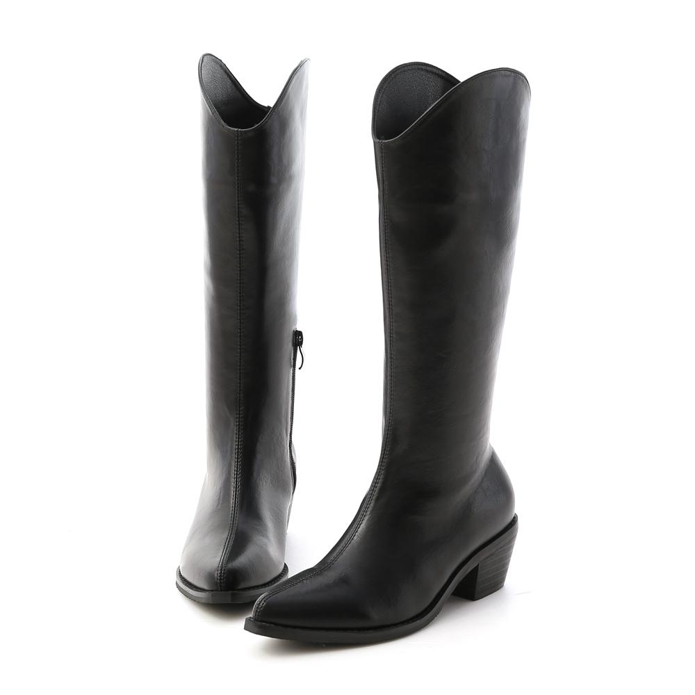 V-cut Cowboy Tall Boots Black