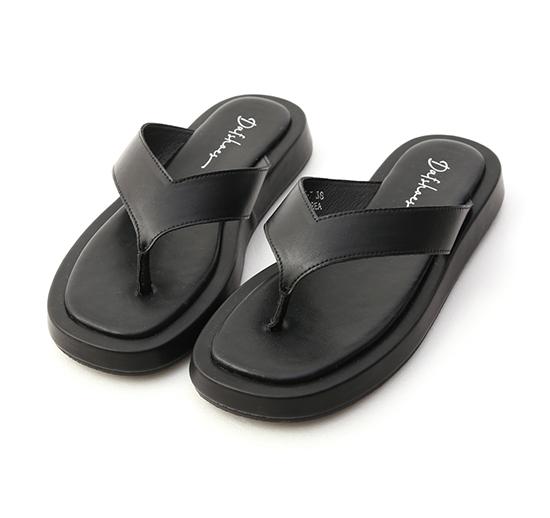 沙灘漫步.人字寬帶夾腳厚底拖鞋 時尚黑