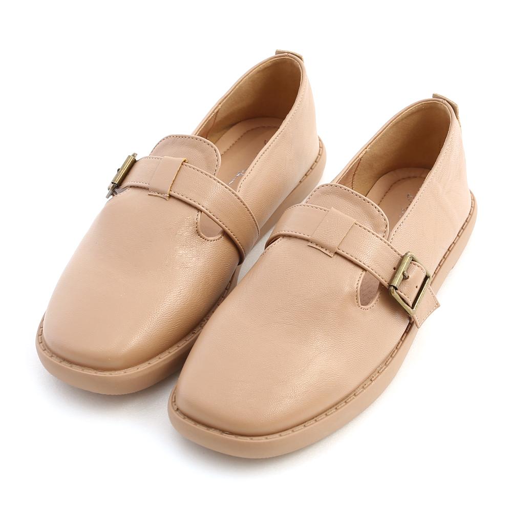 鄰家女孩.T字釦環素面平底鞋 裸膚杏