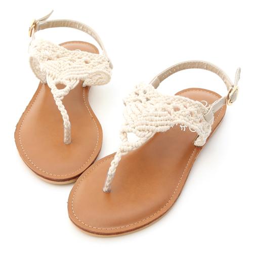 D+AF 純真步調.蕾絲鏤空針織夾腳涼鞋
