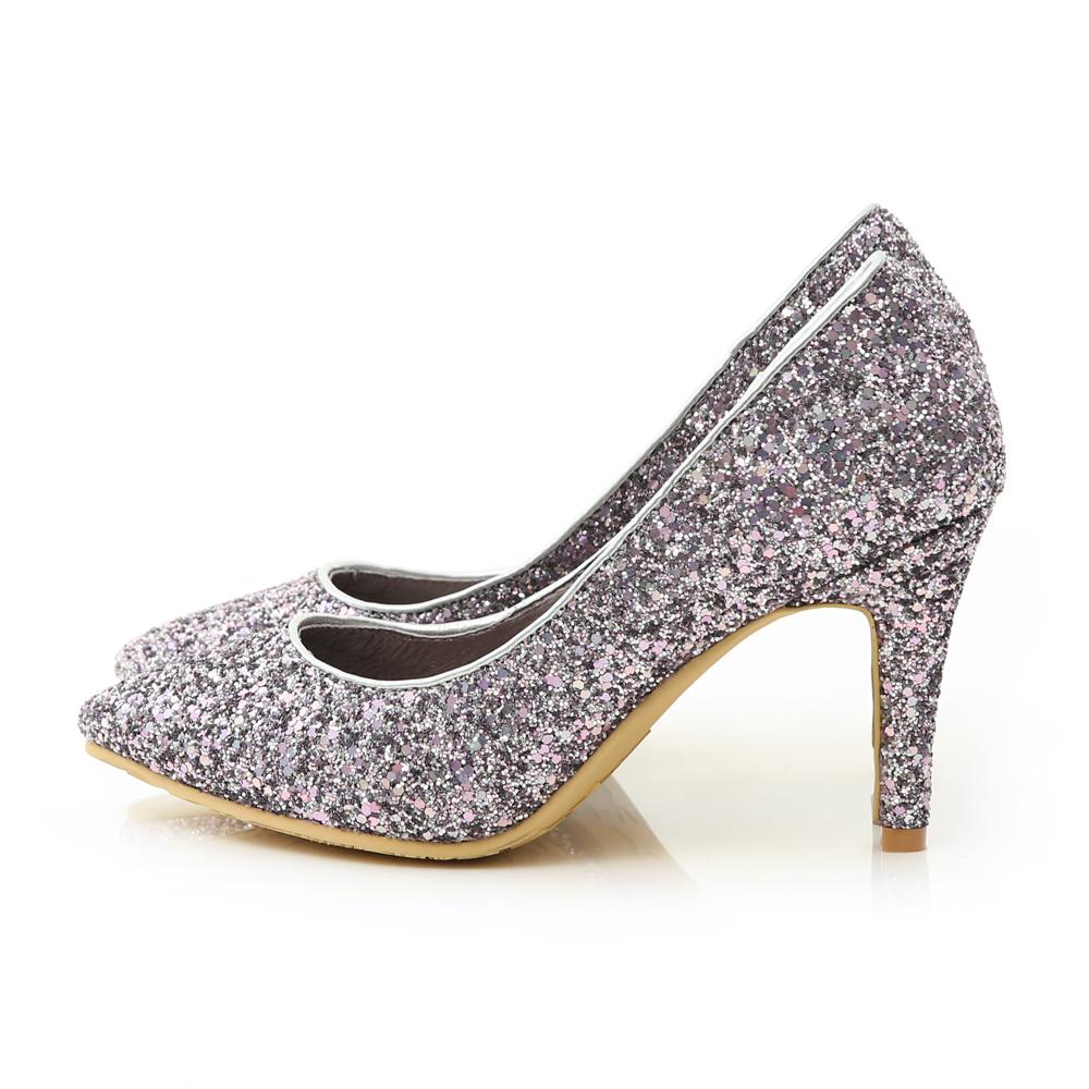 絕美閃耀.滿滿亮片美型尖頭高跟鞋 優雅紫